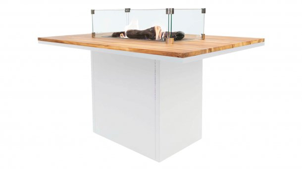 cosi fires cosiloft relax table white teak with glasset Dining Tafel