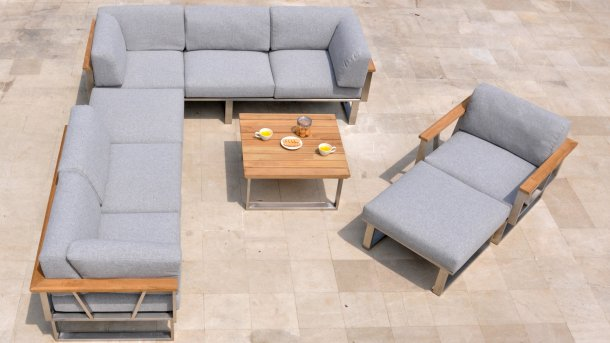 6 delig met lounge cahir 2x voetenbank gespiegeld